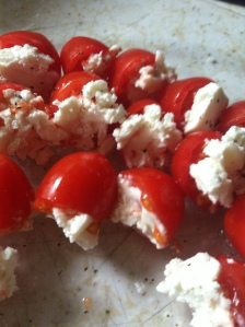 Goat cheese-stuffed cherry tomatoes