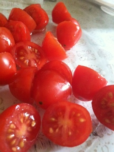 Freshly Cut Cherry Tomatoes