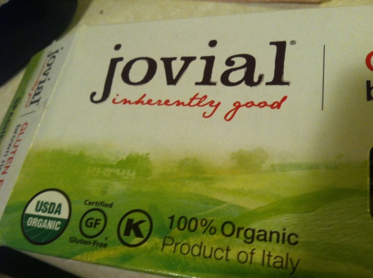 Label of Jovial Foods' GF Spaghetti