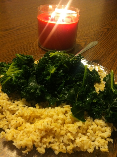 A heaping portion of brown rice and kale, seasoned with the seasoning of my choice