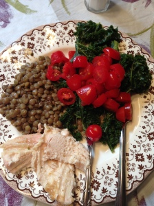 Finished with cherry tomatoes, kale, and lean chicken! A fantastic meal!